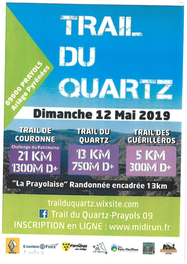 TRAIL DU QUARTZ LE 12 MAI 2019